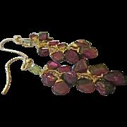 "SOLD 14K solid Gold~ Watermelon Tourmaline ""cluster"" Earrings~ 2.5"""