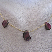 """14K Solid Gold~ Watermelon Tourmaline  Necklace~ 18"""" one of a kind"""