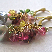 """SALE 18K Solid Gold~ AAA multi-color Tourmaline & silvery Akoya Pearls Necklace 32""""~"""