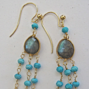 SALE 14K Solid Gold~ AA Labradorite & Sleeping Beauty Turquoise Boho Earrings~ Only one Pa