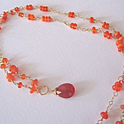 SALE 18K Solid Gold~AAA Mexican Fire Opal Necklace~ One of a kind
