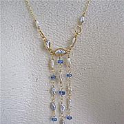 "SALE 18K Solid Gold~ Golden South Sea Keishi Pearls & Tanzanite ""Victoriana"" Nec"