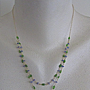 "SALE 18K Solid Gold~ AAA Lemon Citrine, Chrome Diopside, & Tanzanite ""Lemon Drop"" Ne"