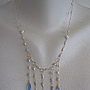 SALE 14K Solid Gold~ AAA South Sea Keishi Pearls and Blue Topaz Drops~ GODDESS Necklace~one of