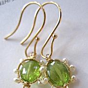 "Solid 14K Gold~ Faceted Peridot ""victoriana"" Earrings with seed pearls~2"" lengt"
