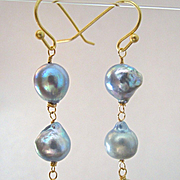 14K Solid Gold~ Akoya & South Sea Pearl Earrings~ Triple Drop~2.5''