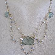 SALE 14K Solid Gold~AAA Silvery Keishi Pearls & Moss Aquamarine Hand cut, Art Deco(ish) Neckla