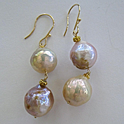 "SALE 14K/18K Solid Gold~ Genuine Japanese Kasumi Pearl ""Double Happiness"" Earrings~"