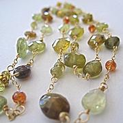 SALE 18K Solid Gold~ AA Grossular Garnet Long necklace~ New!