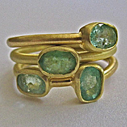 SALE 18K Solid Gold~AA Colombian Emerald Stack rings~Brand New!