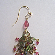 SOLD 14K Solid Gold~ Bi-color Tourmaline & Pink Tourmaline Cluster earrings~ One of a kind
