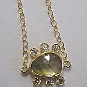 "SALE 18K Solid Gold~AAA Watermelon Tourmaline Rose Cut with diamonds  ""eye of beauty"""