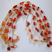 SALE 18K Solid Gold~ AAA Mexican Fire Opal Necklace~Long 4ft Flapper Necklace~Gorgeous deep or