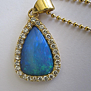 SALE 18K Solid Gold~ Stunning Australian Black Opal & Diamond Halo Necklace~ One of a kind
