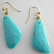 18K Solid Gold~AAA Sleeping Beauty Turquoise~Natural~Oblong shaped Large Earrings~ one of a ki