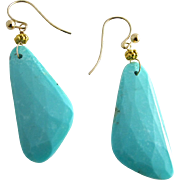18K Solid Gold~AAA Sleeping Beauty Turquoise~Natural~Oblong shaped Large Earrings~ one of a ..