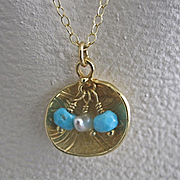 18K Solid Gold~ Lotus Pendant Necklace with Sleeping Beauty Turquoise & Keishi Pearls~ one of