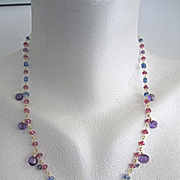 "SALE 18K Solid Gold~ AAA Rose Sapphires, Kyanite, Iolite, and African Amethyst ""Guinevere"