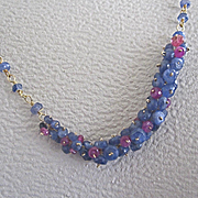 "SALE 18K Solid Gold~Blue Sapphire & Pink Sapphire ""Pinned"" Necklace"