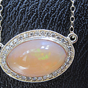 SALE 14K Solid Gold~AAA Mexican Fire Opal & Diamond Halo Necklace~One of a kind
