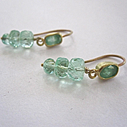 Solid 18K Gold~ Colombian Emerald Earrings, fantastic color and sparkle! One of a kind