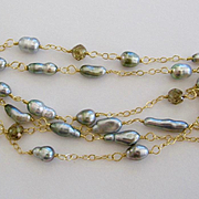 """SALE Solid 18K Gold~Silvery Tahitian Keshi Pearls & Champagne Diamond Necklace STUNNING! 22"""""""
