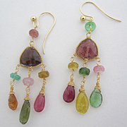 "SALE 14K Solid Gold~AAA Tourmaline Chandelier Earrings~ 2"" in length"