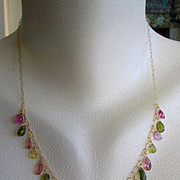 """SALE 18K Solid Gold~ AAA Tourmaline """"ARTEMIS"""" Necklace~ one of a kind~ 18"""" New!"""