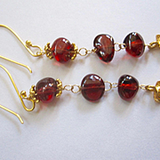 SALE 18K Solid Gold~ AAA Pyrope Red Garnet & Diamond Earrings~ Only one pair! NEW!! 2""