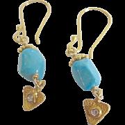 18K AAA Sleeping Beauty Turquoise & Diamond Earrings~ simply lovely