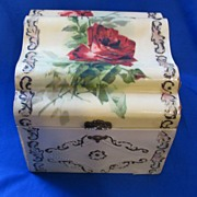 Celluloid Covered Collar and Cuff Box Red Rose