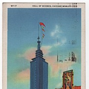 Hall of Science Chicago Illinois World's Fair 1933 Postcard