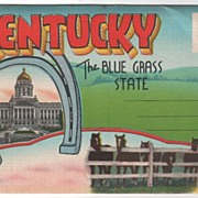 Souvenir Folder Greetings from KY Kentucky The Blue Grass State