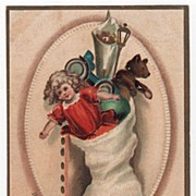 SOLD SIgned Clapsaddle Christmas Postcard of a Christmas Stocking Full of Toys - Red Tag Sale