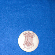 F B C Hollowed Out Shield with Medieval Weapons Vintage Pinback Button