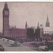 Houses of Parliament Looking Westminster Bridge London England Vintage Postcard