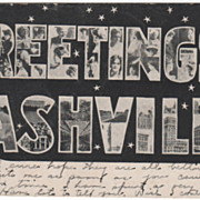 Greetings from Nashville TN Tennessee Postcard - Big Letter Black and White