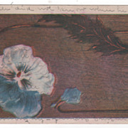 Blue and White Flower Brown Feather - Postmarked Bellbuckle TN Tennessee 1909