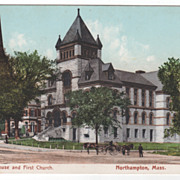 Court House and First Church Northampton MA Massachusetts Postcard
