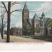Maple St and Second Congregational Church Holyoke MA Massachusetts Postcard