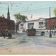 Lincoln Square and Court House Worcester MA Massachusetts Postcard