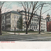 High School Springfield MA Massachusetts Vintage Postcard