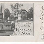 First Congregational Church & Chapel Florence MA Massachusetts Postcard