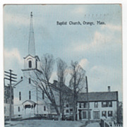 Blue Tinted Baptist Church Orange MA Massachusetts Vintage Postcard