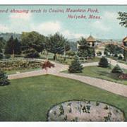 Lily Pond Showing Arch to Casino Mountain Pk Holyoke MA Massachusetts Postcard