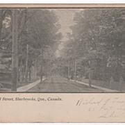 SOLD Commercial Street Sherbrooke Quebec Canada Vintage Postcard