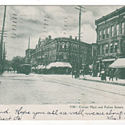 Corner Main and Fulton Streets Gloversville NY New York Vintage Postcard