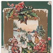 SOLD Christmas New Year Vintage Postcard Merry Christmas Happy New Year Skaters Holly - Red Ta
