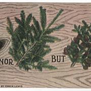 Greetings Vintage Postcard - Pine Tree Rebus - Copyright 1910