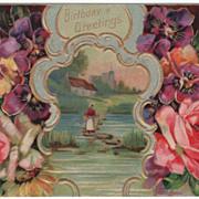 Birthday Greetings Vintage Postcard Lady Crossing Water on Rocks Pansies Roses